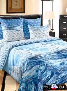 Комплект постельного белья из перкали евро белый парус