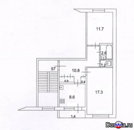 Продается 2-х комнатная квартира 53,5 м2 в с. Григорьевское.