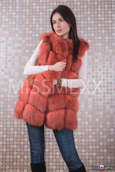 Продаётся меховая жилетка из песца, цвет розовая, артикул 115.