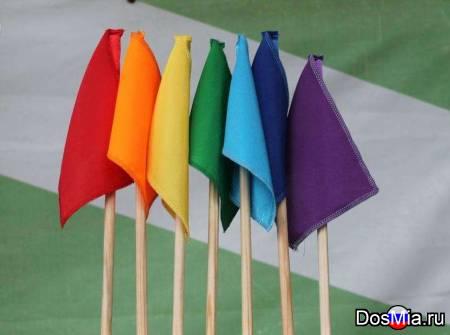 Флажки на деревянной палочке разноцветные, детские, сигнальные.