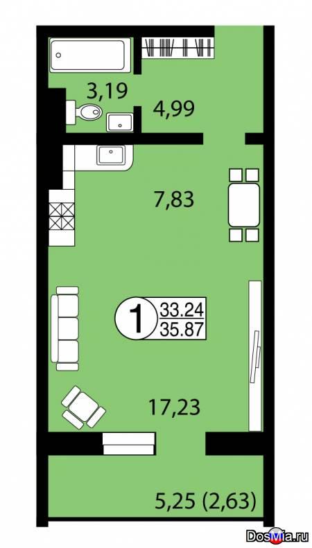 Продам 1-к квартиру 35,87 м2 в ЖК Серебряный, собственник.
