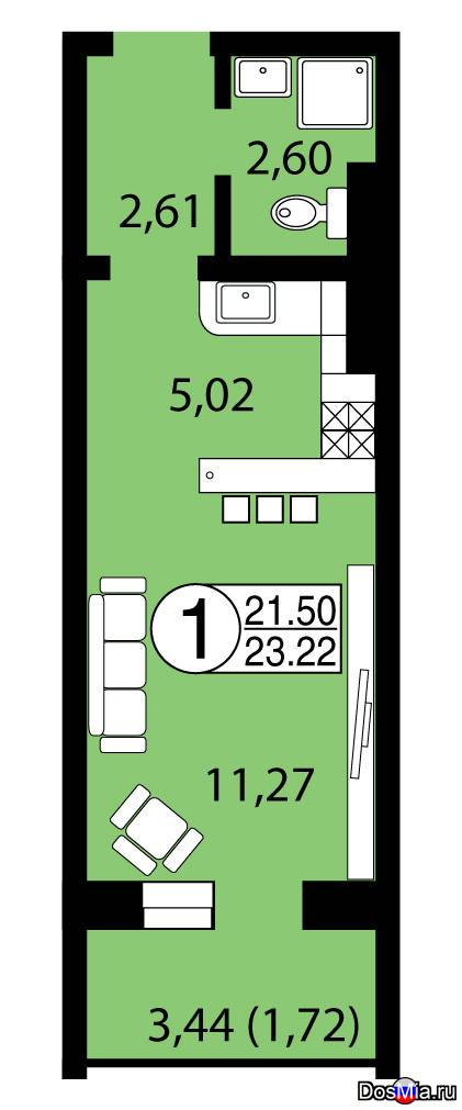 Продам 1-к квариру 23,22 м2 в ЖК Серебряный, собственник.