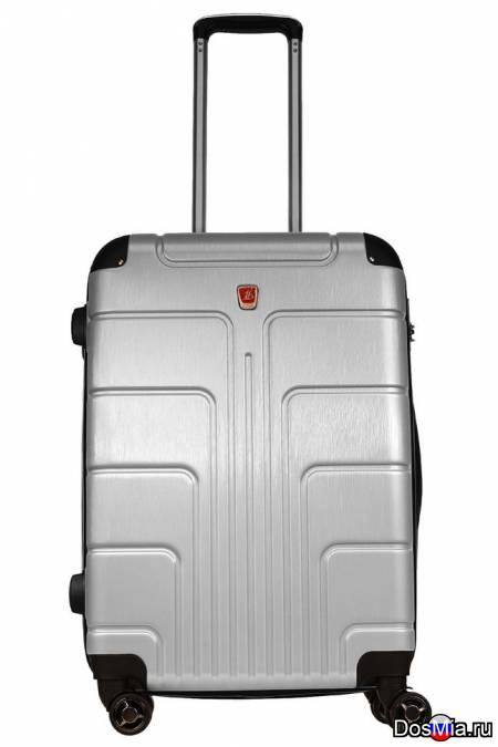 Неубиваемый пластиковый чемодан, серебристый.