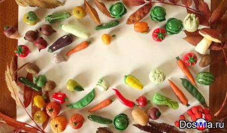 Развивающие игрушки для детей. Овощи, фрукты, грибы из полимерной глины.